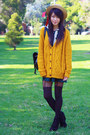 Green-asian-icandy-dress-black-yesstyle-bag-mustard-urban-outfitters-cardiga