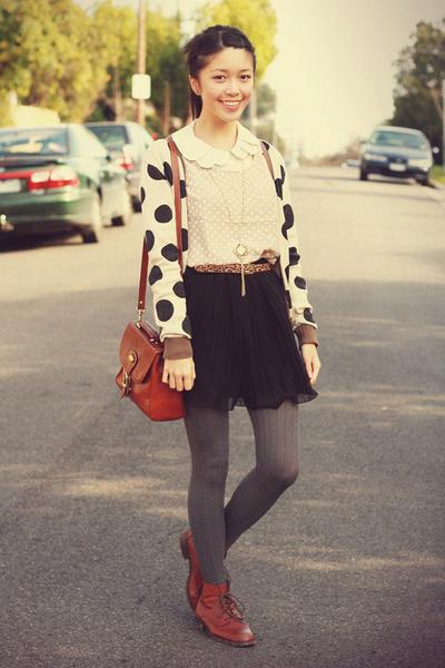 dark brown romwe top - dark brown Spotted Moth cardigan - black supre skirt