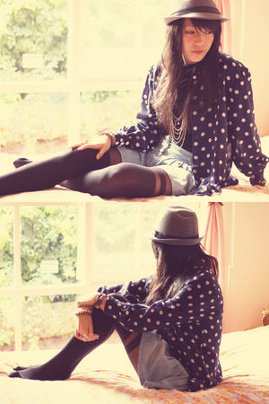 black asos tights - gray China hat - blue Target skirt - blue vintage blouse