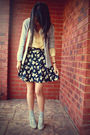 Gray-socks-bonbons-shoes-vintage-skirt-yellow-vintage-top-gray-cardigan-