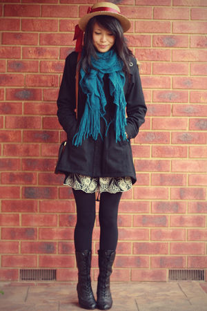vintage accessories - black candy boots - black Forever 21 coat