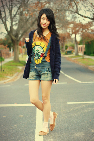 mustard romwe t-shirt - navy Urban Outfitters cardigan - blue ClubCouture romper