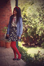 Blue-vintage-cardigan-vintage-skirt-vintage-shirt-forever-21-necklace-vo