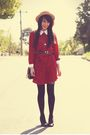 Red-vintage-dress-black-topshop-tights-blue-vintage-belt-beige-vintage-hat