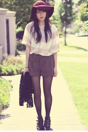 beige from my mother China top - black asos shoes - brick red Forever 21 hat