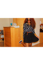 Black-polka-dot-h-m-blouse-black-chiffon-forever-21-skirt