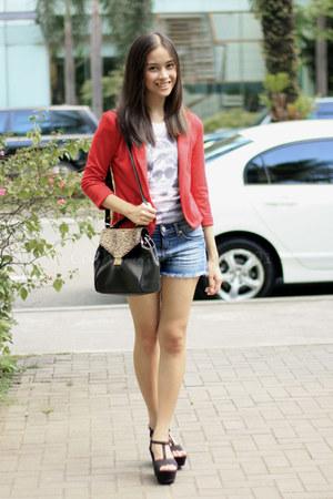 red Sparkle & Fade blazer - black Zara wedges