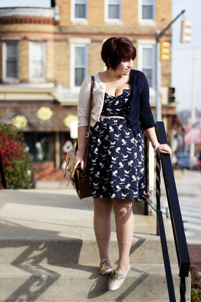 cream j crew factoy cardigan - navy Anthropologie dress
