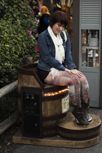 navy denim jacket mossimo via target jacket - dark brown Love Culture boots