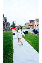 white ingni blouse - amethyst Marc Jacobs bag - white Zara skirt