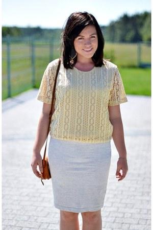 silver bandage H&M skirt - light yellow no brand blouse
