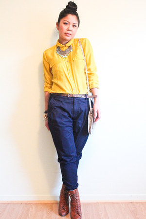 tawny lace up rag &amp; bone boots - gold Moda shirt - navy Zara pants