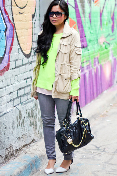 H&M jacket - Old Navy jeans - neon Forever 21 sweater - Aldo purse - Zara heels