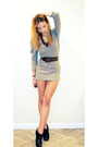 Gray-dress-brown-vintage-belt-gray-urban-outfitters-necklace-brown