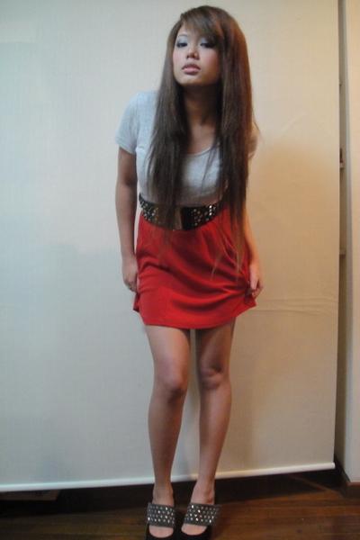 gray shirt - red dress - black H&M belt - black Egoist jacket
