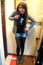 gray cardigan - black Zara t-shirt - black leggings