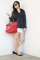 navy From Bazaar top - red Long Champ bag - ivory Bershka shorts