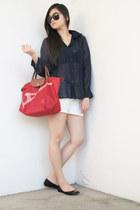 navy From Bazaar top - red Long Champ bag - ivory Bershka shorts