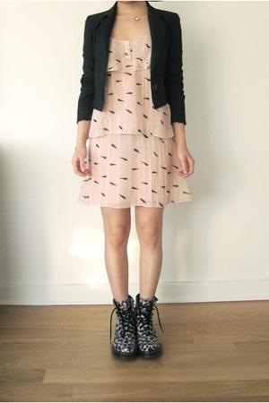 black floral print doc martens boots - pink Karl Lagerfeld dress