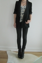 blazer - Topshop top - acne jeans - Prada boots - Vintage crystal necklace neck