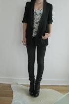blazer - Topshop top - acne jeans - Prada boots - Vintage crystal necklace neck