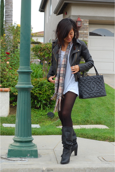 black Chanel purse - black Colin Stuart boots - black Silence  Noise jacket