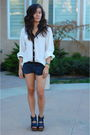 White-zara-blouse-silver-forever-21-necklace-gray-american-apparel-shorts-
