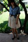 Blue-j-crew-shirt-white-forever-21-skirt-black-chanel-shoes-brown-ray-ban-