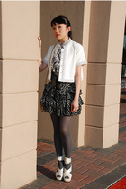 white twelve by twelve jacket - white Urbanogcom shoes - black Forever21 skirt