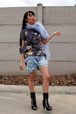 scarf - shirt - DIY shirt - DIY shorts - Bumper shoes