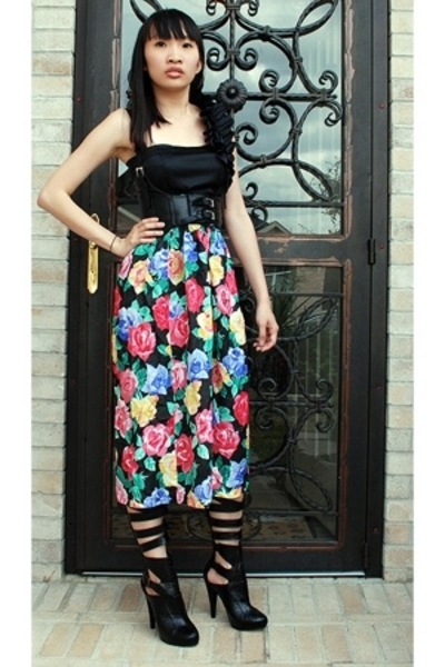 asos top - 579 belt - Secondhand skirt - michael antonio shoes