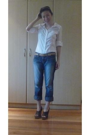 Old Navy blouse - a&f jeans - Chloe Platform wedge shoes - Hermes belt