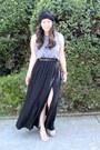 Black-maxi-high-slit-forever-21-skirt-heather-gray-diy-jamerson-t-shirt