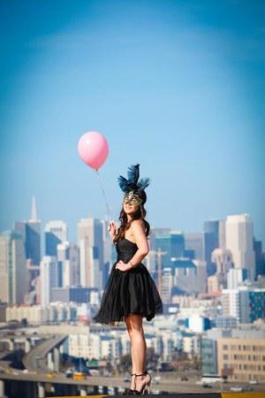 chiffon Zara dress - color blocked Zara heels - masque New Orleans accessories