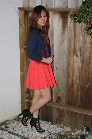 red flared skirt Kova & T dress - blue military H&M jacket