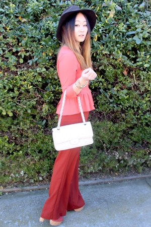 Forever 21 pants - cotton on hat - Chanel bag - peplum Forever 21 blouse