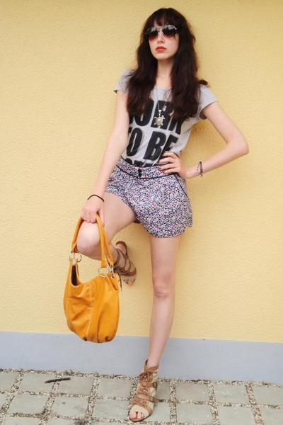 heather gray shirt - orange orange bag - light purple flower print shorts