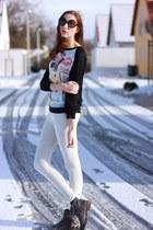 silver watch ring - gray flats Deichmann boots - black cat Rosegal sweater