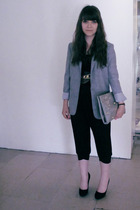 Topshop jacket - Topshop pants - lux uo purse - Bally shoes - vintage belt