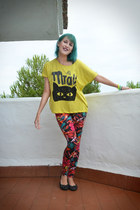 red Tally Weijl leggings - yellow Promod t-shirt