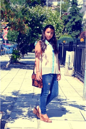 cream Topshop shirt - navy Zara jeans - dark brown Bershka bag