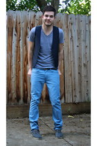 navy Urban Outfitters vest - heather gray Toms shoes - sky blue Levis jeans