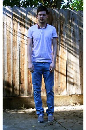 maroon Topman shirt - heather gray TOMS shoes - sky blue Levis jeans
