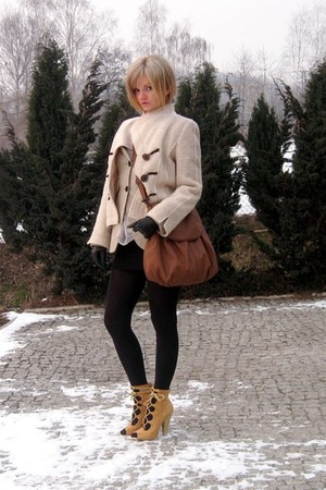 tan Bebe boots - beige vintage jacket - nude Mango blazer - bronze Mango bag - e