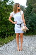 gray asos dress - brown Zara belt - beige no name purse - beige Bata shoes - bla