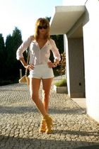 pink H&M shirt - white Mango shorts - beige Bebe shoes - beige no name purse - b