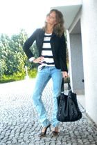 black Mango blazer - white H&M dress - blue Mohito jeans - black Orsay purse - b