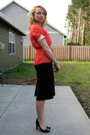 orange Anthropologie shirt - black consignment skirt - black Jessica Simpson sho