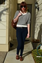 black H&M sunglasses - navy Gap jeans - white H&M sweater - brown thrifted bag
