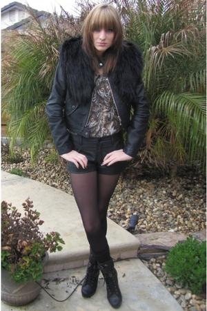 brown leatherlaceandvelvet top - black hand-me-down jacket - black Forever 21 sh